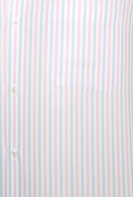 Peter England Pink Striped Slim Fit Shirt
