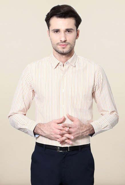 Peter England Orange Striped Formal Shirt
