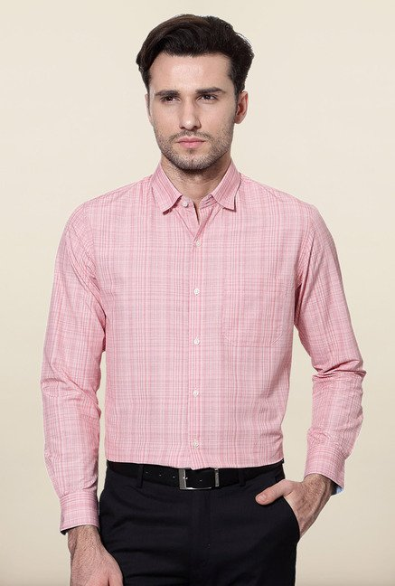 Peter England Pink Checks Slim Fit Formal Shirt