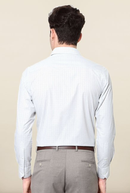 Peter England White & Blue Checks Shirt