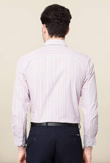 Peter England Pink & Blue striped Formal Shirt