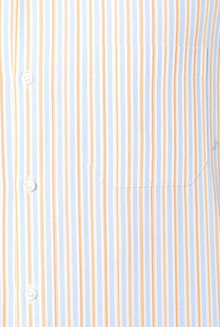 Peter England Blue & Brown Striped Slim Fit Formal Shirt