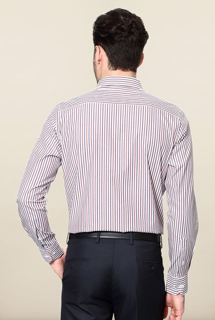Peter England Red & Blue Striped Cotton Formal Shirt