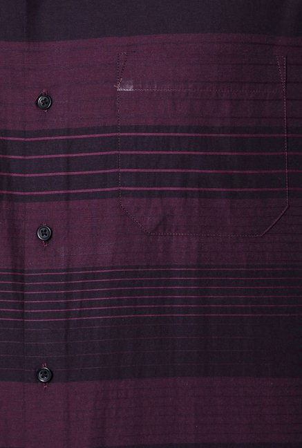 Peter England Purple Striped Shirt
