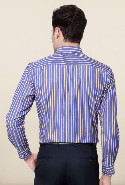 Peter England Blue Striped Shirt