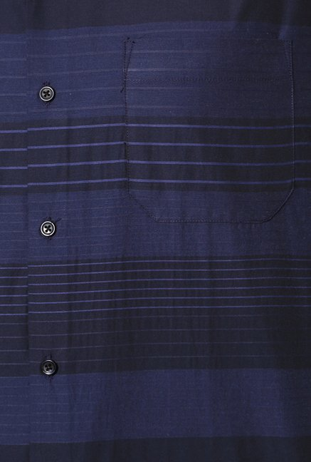 Peter England Navy Striped Cotton Formal Shirt