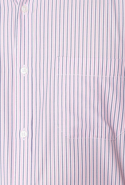 Peter England Pink & Grey Striped Formal Shirt
