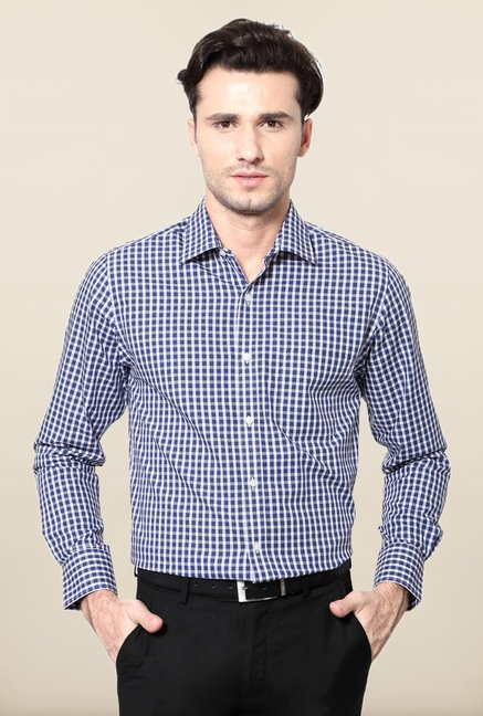 Peter England Navy Checks Cotton Shirt
