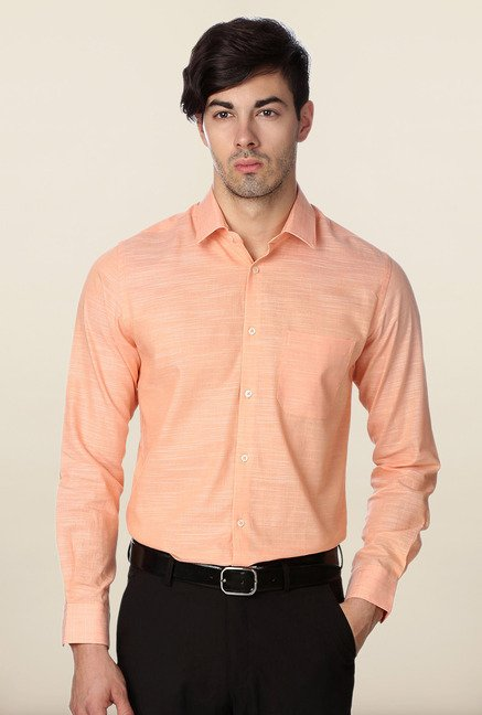 Peter England Peach Slim Fit Formal Shirt