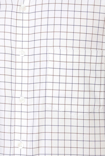 Allen Solly White Checks Cotton Formal Shirt