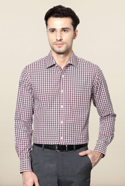 Peter England Maroon Slim Fit Shirt