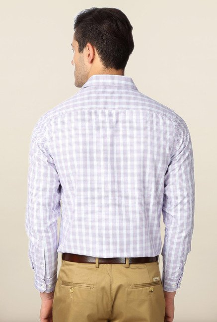 Peter England White & Purple Checks Formal Shirt