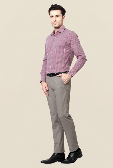 Peter England Red Slim Fit Cotton Formal Shirt