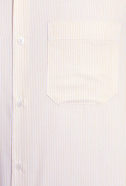 Peter England Beige Striped Formal Shirt