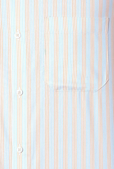 Peter England Blue & Red Striped Slim Fit Formal Shirt