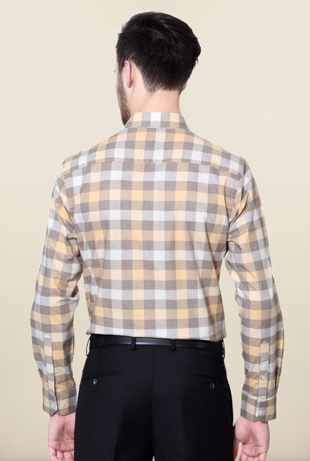 Peter England Brown & Orange Checks Formal Shirt