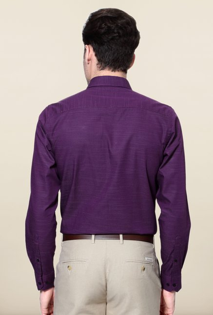 Peter England Purple Polka Dot Printed Cotton Formal Shirt