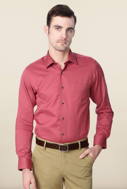 Peter England Pink Solid Slim Fit Shirt