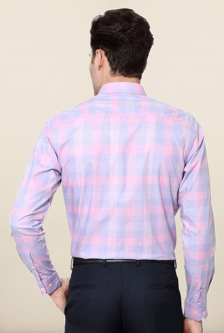 Peter England Pink & Blue Cotton Shirt