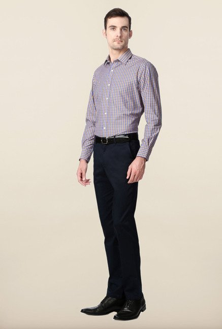 Peter England Blue & Yellow Slim Fit Formal Shirt
