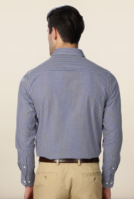 Peter England Navy & White Checks Formal Shirt