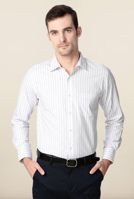 Peter England White & Grey Striped Formal Shirt