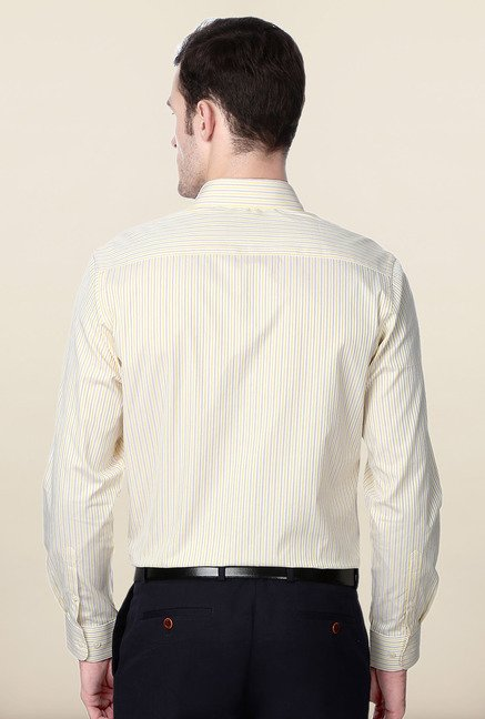Peter England Yellow & Purple Striped Formal Shirt