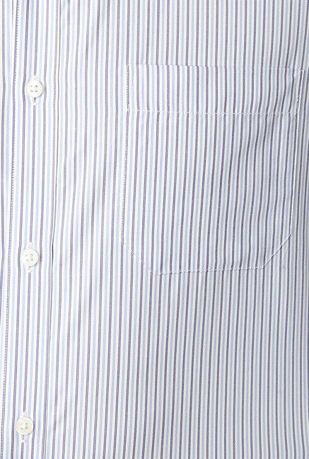 Peter England Blue & White Striped Slim Fit Formal Shirt