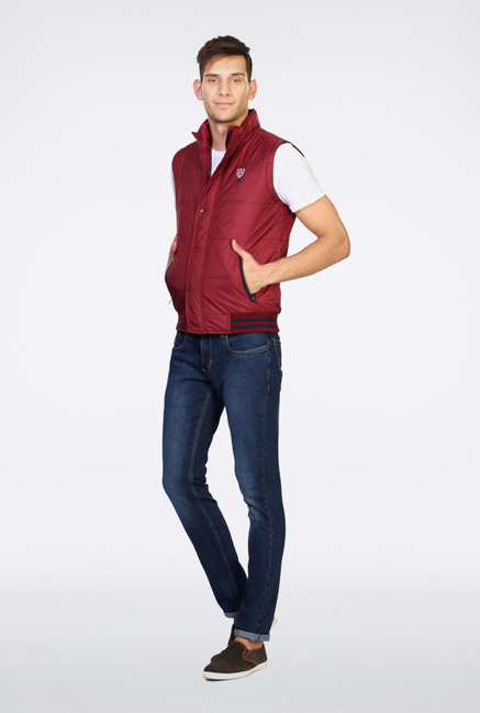 Peter England Maroon Casual Jacket