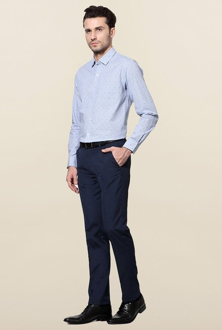 Peter England Blue Checks Cotton Formal Shirt