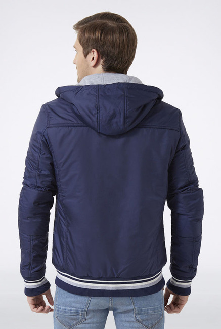 Peter England Light Grey Hooded Casual Jacket