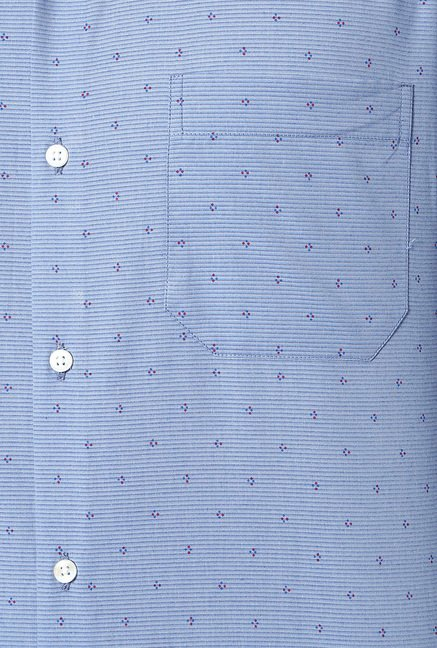 Peter England Blue Printed Slim Fit Shirt