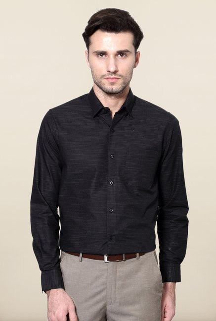 Peter England Black Polka Dot Print Formal Shirt