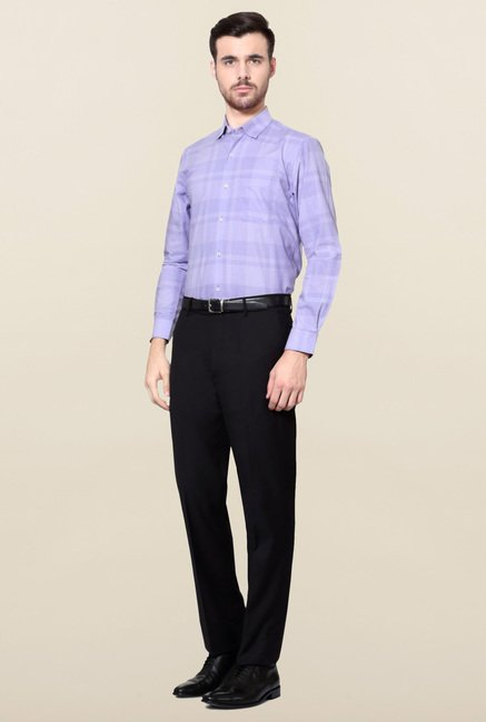 Peter England Purple Slim Fit Cotton Formal Shirt