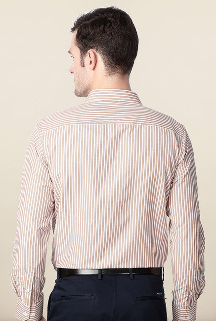 Peter England Orange Striped Slim Fit Formal Shirt