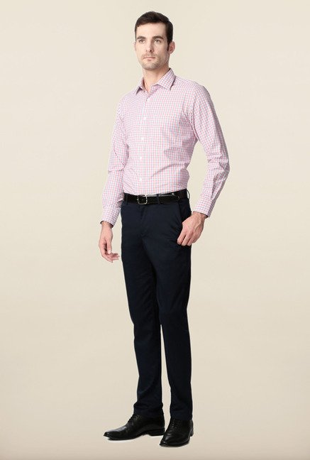 Peter England Red & Blue Checks Slim Fit Formal Shirt
