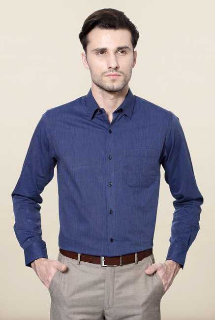 Peter England Navy Printed Cotton Formal Shirt