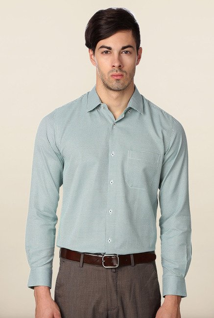Peter England Green Slim Fit Formal Shirt