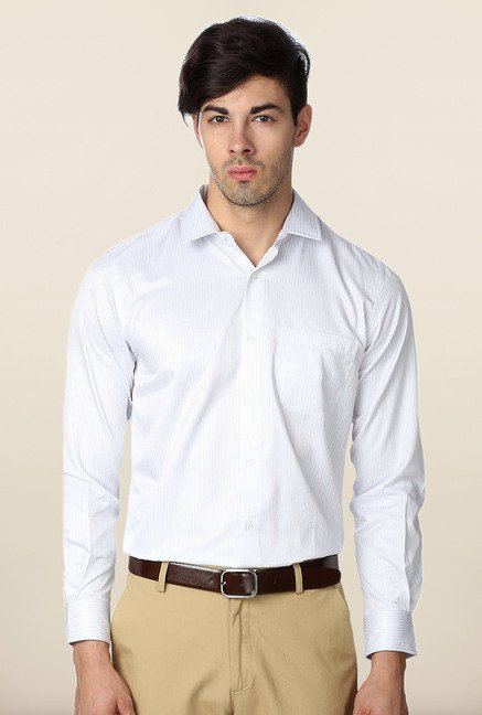 Peter England White Striped Full Sleeves Shirt