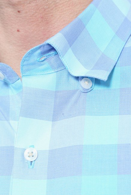 Peter England Blue Checks Slim Fit Cotton Shirt