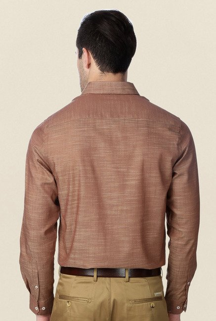 Peter England Brown Formal Shirt