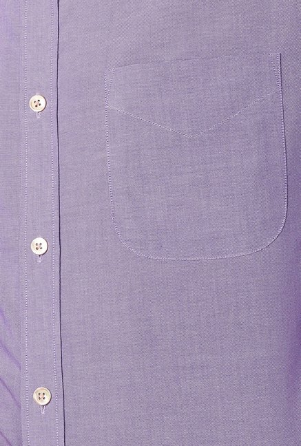 Peter England Purple Solid Slim Fit Cotton Shirt
