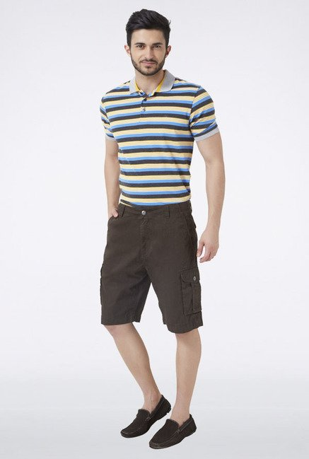 Peter England Olive Solid Shorts