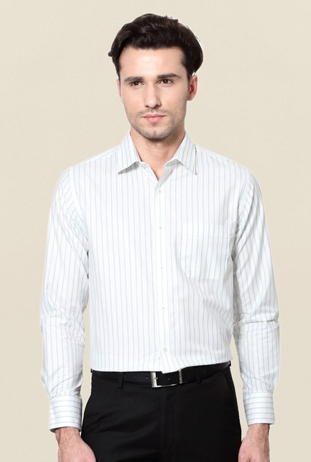 Peter England White Striped Shirt