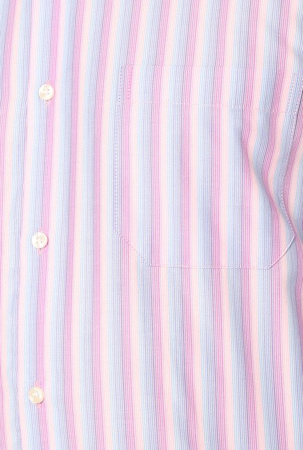 Peter England Purple Striped Slim Fit Shirt