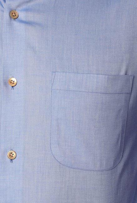 Peter England Blue Solid Formal Shirt
