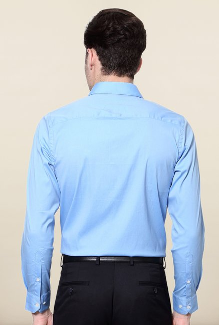 Peter England Blue Solid Full Sleeves Shirt