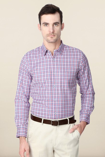 Peter England Multicolor Checks Slim Fit Formal Shirt