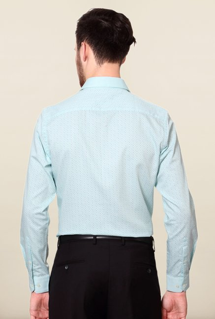 Peter England Blue Polka Dot Print Cotton Formal Shirt