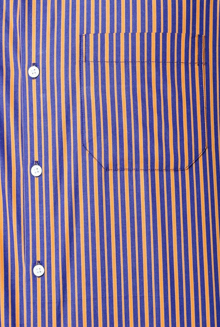 Peter England Blue & Brown Striped Formal Shirt